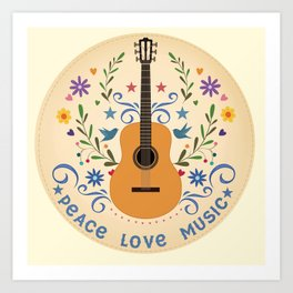 Peace Love And Music Folk Guitar Badge Art Print