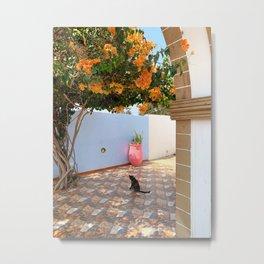 Cat and Flowers Metal Print