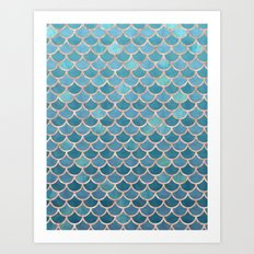 Mermaid Scales in Teal and Rose Gold Art Print