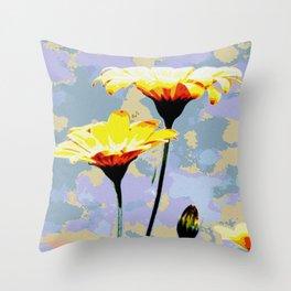 Daisys & blue sky Throw Pillow