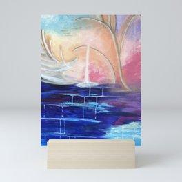 Flourescent Waterfall Painting. Waterfall, Abstract, Blue, Pink. Water. Jodilynpaintings. Mini Art Print
