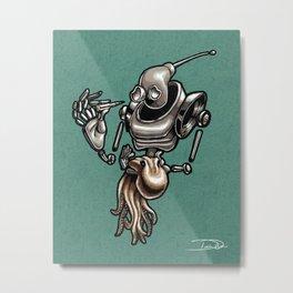 Robot and Octopus Metal Print