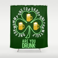 patrick Shower Curtains featuring St Patrick  by Barbo's Art