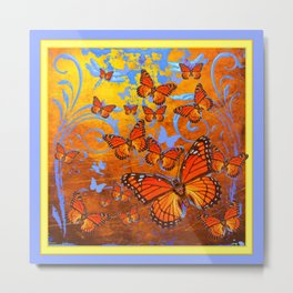 Caramel Browns & Pale Blue  Monarch  Butterflies with Yellow Metal Print