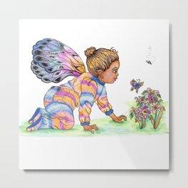 Butterfly Blanket Sleeper Baby Metal Print