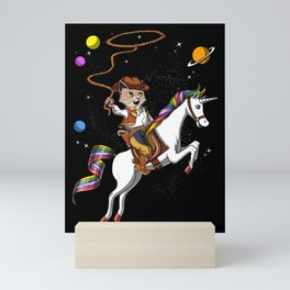 Cat Cowboy Riding Space Unicorn Mini Art Print