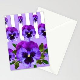 MODERN LILAC & PURPLE PANSY FLOWERS ART Stationery Cards