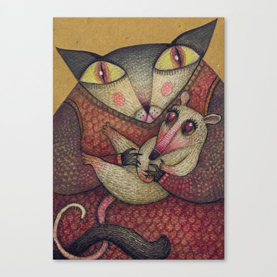 Little orphaned rat adopted by Mother Cat Canvas Print