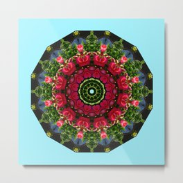 Red blossoms 001.5, Floral mandala-style Metal Print