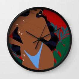 Handful // Woman, Femme, Feminine, Red, Black, Blue, Green, Plants Wall Clock