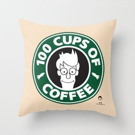 100 Cups of Coffee Throw Pillow