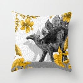 Jurassic Stegosaurus: Gold & Gray Throw Pillow