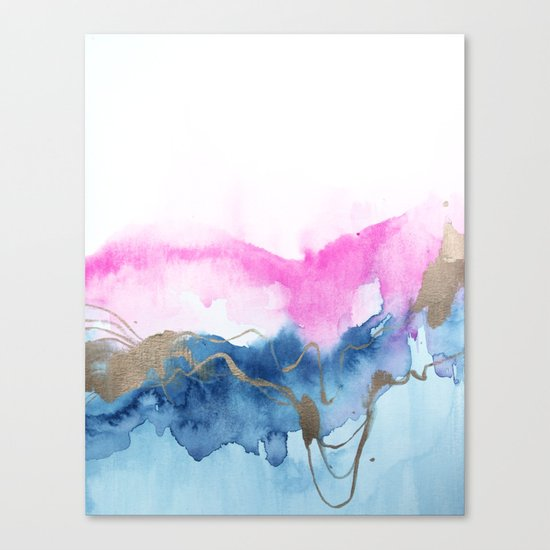 Abstract Watercolor Pink Blue Canvas Print