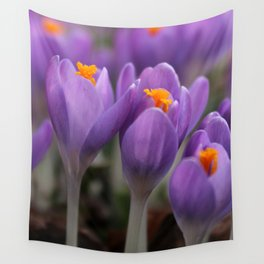 A Pair of Pretty Purple Crocus Wall Tapestry