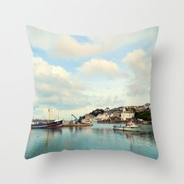 Fishing town Throw Pillow