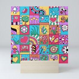 Inchie Doodle Design - Blue Red - Spring Mini Art Print