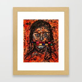 They Want To Censor Us,society,woman,empowerment,girl,orange,colourful,cool,urban,message,female Framed Art Print