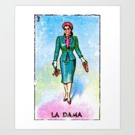 La Dama Mexican Loteria Bingo Card Art Print