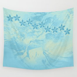 flowers in an abstract blue grunge landscape Wall Tapestry