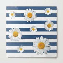 Spring Bloom | Navy Ribbon Metal Print