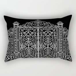 French Wrought Iron Gate | Louis XV Style | Black and Silvery Grey Rectangular Pillow