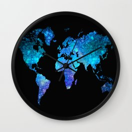 Space World map Wall Clock