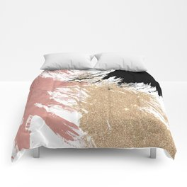 Giant Artsy Brushstrokes in Gold Rose Gold Glitter Comforters