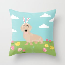 Dachshund dog breed easter pet portrait dog breed gifts pure breed dachsie doxie cream Throw Pillow