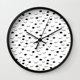 Eyes and Lashes, Black and white, illustration Wall Clock