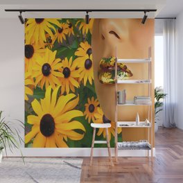 Lips in sunflowers Wall Mural