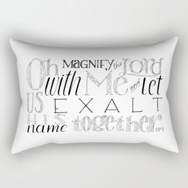 Psalm 34 Bible Verse // Oh Magnify The Lord With Me and Exalt His Name Together Rectangular Pillow