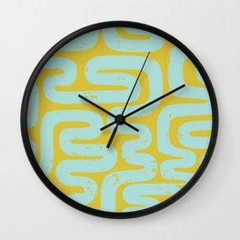 Midcentury Maze Pattern in Avocado and Aqua Wall Clock