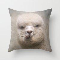 alpaca Throw Pillows featuring Alpaca! by Pauline Fowler ( Polly470 )