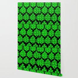 Green an Black Damask Wallpaper