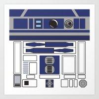 starwars Art Prints featuring R2D2 - Starwars by Alex Patterson AKA frigopie76