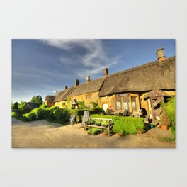 Thatched Cottages at Great Tew  Canvas Print