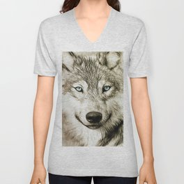 Smokey Sketched Wolf Unisex V-Neck