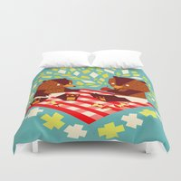 yetiland Duvet Covers featuring picknick bears by Yetiland