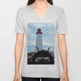 Sailing to Point Prim Lighthouse Unisex V-Neck