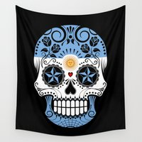 argentina Wall Tapestries featuring Sugar Skull with Roses and Flag of Argentina by Jeff Bartels