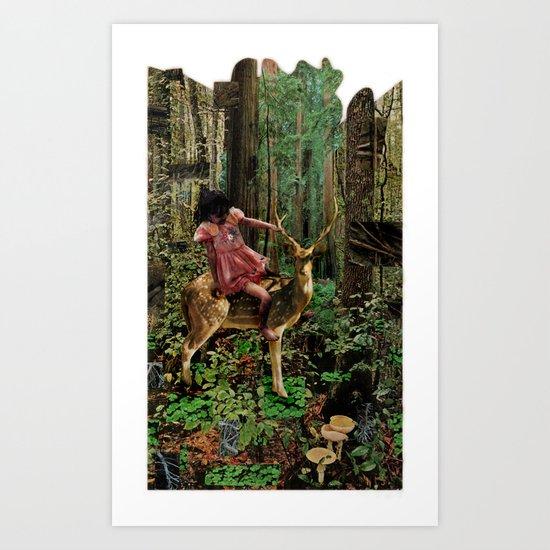 Deerlove   Collage Art Print
