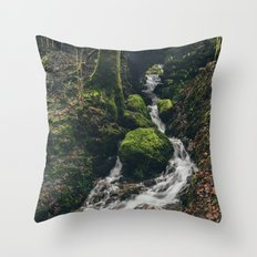 Stone bridge over waterfall near Stockghyll Force. Cumbria, UK. Throw Pillow