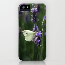 White Butterfly in a Lavender Field iPhone Case