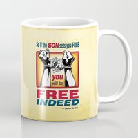 aelwen Mugs featuring FREE INDEED! by Peter Gross