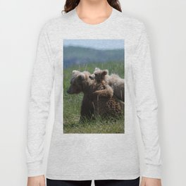 Alaska Grizzly Mother And A Cub In Katmai National Park #Society6 Long Sleeve T-shirt