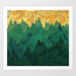 Abstract Vivid Green Mountains Art Print