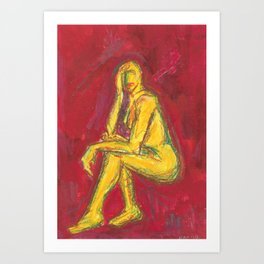 Nude on Red Art Print