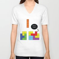 tetris V-neck T-shirts featuring Tetris by Digital Sketch