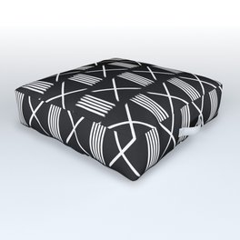 Mudcloth xs and lines black Outdoor Floor Cushion