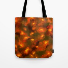 Glowing Ember Floral Abstract Tote Bag